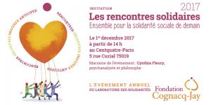 Invitation 1ères Rencontres solidaires -1er décembre 2017 - Marraine : Cynthia Fleury